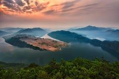 Moring sunrise lake scene stock images