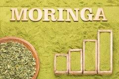 Moringa-Blätter und Pulver - statistische Tabelle des Verkaufs und Verbrauch von Moringa Beschneidungspfad eingeschlossen lizenzfreie stockfotos