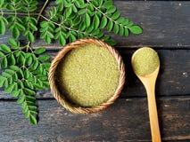 Moringa bladpoeder Stock Foto's
