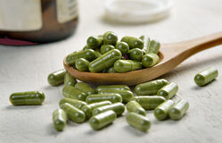 Moringa capsule pills Stock Photos