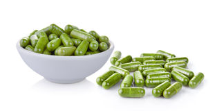Moringa capsules Royalty Free Stock Photo