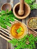 Moringa herbal tea stock photo