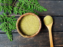 Moringa leaf powder Stock Photos