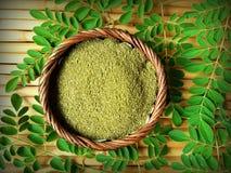 Moringa liścia proszek zdjęcie royalty free
