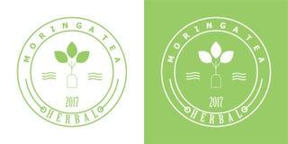 Moringa odznaki herbaciany logo obraz royalty free