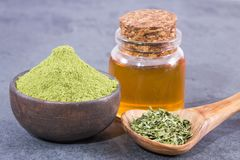 Moringa oleifera avec beaucoup d'avantages, de vitamines, de minerais et de propriétés médicinales multiples pour le corps image stock