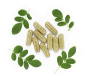 Moringa oleifera capsule Stock Photos