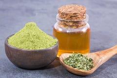 Moringa oleifera met vele Voordelen, Vitaminen, Mineralen en Veelvoudige Geneeskrachtige Eigenschappen voor het lichaam stock afbeelding