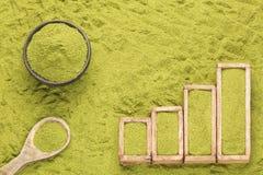 Moringa.oleifera - statistische Tabelle des Verkaufs und Verbrauch von Moringa Textraum lizenzfreie stockfotos