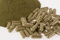 Moringa poeder in capsules Stock Fotografie