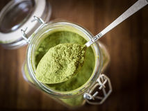 Moringa powder on a spoon, close up Stock Photo