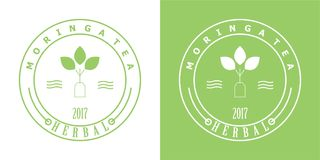 Moringa tea badge logo. For tea industries. green and white logo stock illustration