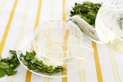 Moringa tea. A cup of moringa tea on the dining table royalty free stock image