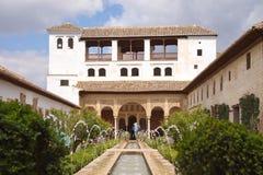 Morisk slott, Alhambra, Granada, Spanien royaltyfria bilder