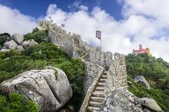 Morisk slott av Sintra Royaltyfri Fotografi