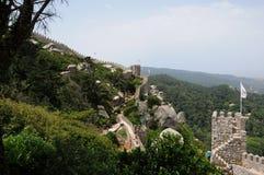 Morisk slott i Sintra Arkivfoton