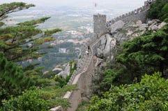 Morisk slott i Sintra Arkivbild