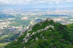 Morisk slott, Sintra, Portugal Arkivbild