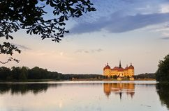Moritzburg. Castle and Lake at Sunset Royalty Free Stock Photography