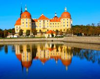 Moritzburg, Germany. Hunting castle with reflection in Stock Images