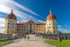 MORITZBURG, GERMANY - JULY 16, 2016: Tourists visit city castle. Royalty Free Stock Photography