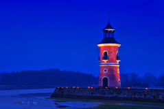 Moritzburg lighthouse night Stock Images