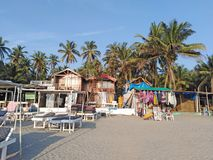Morjim plaża, Goa, India obrazy stock