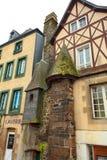 Morlaix achtersteeg en gebouwenstad Morlaix, Frankrijk Royalty-vrije Stock Foto