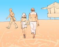 Mormodern och sondottern promenerar stranden royaltyfri illustrationer