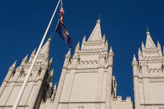 Mormon Church in Salt Lake city with a clear blue sky Stock Photography