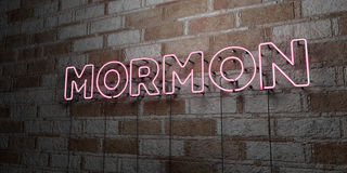 MORMON - Glowing Neon Sign on stonework wall - 3D rendered royalty free stock illustration Royalty Free Stock Images