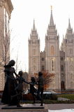 MORMON MOM AND CHILDREN. Salt lake city temple square mom and the children royalty free stock photo