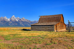 Mormon Row Barn in the Grand Tetons Royalty Free Stock Photo