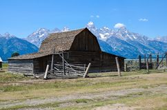Mormon Row barn in Jackson Wyoming. Famous T.A. Moulton Barn. Sunny summer day stock image
