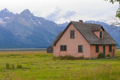 Mormon row in morning cloudy day Royalty Free Stock Photography