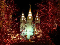 Mormon Temple. Christmas lights night Royalty Free Stock Photos