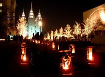 Mormon Temple. Christmas lights night Royalty Free Stock Photo