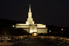 Mormon Temple -- Bountiful, Utah. Night shot of Mormon Temple in Bountiful, Utah royalty free stock photos