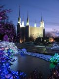 Mormon Temple & Frozen Pond Stock Photos
