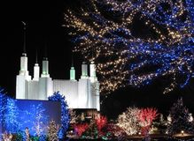 Mormon Temple With Holiday Lights Royalty Free Stock Photos
