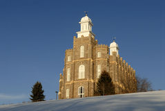 Mormon Temple in Logan Utah in the Winter. Temple of the Church of Jesus Christ of Latter-day Saints (Mormons) located in Logan Utah Stock Photos