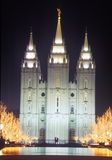 Mormon Temple at night in Salt Lake City Utah Stock Photo