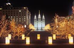 Mormon Temple at night in Salt Lake City Utah Royalty Free Stock Photos