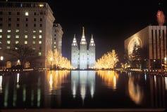 Mormon Temple at night in Salt Lake City Utah Stock Images