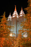 Mormon temple salt lake city. A scene from Temple Square in Salt Lake city at night near Christmas Royalty Free Stock Photography