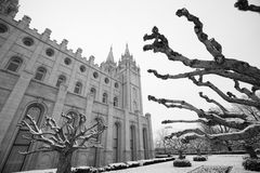 Mormon temple in Salt Lake City. Mormon Temple in Satl Lake City is one of the city's most recognized landmarks and most visited destinations Royalty Free Stock Image