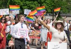 Mormoner som bygger broar på den Salt Lake City bögen Pride Parade Royaltyfria Foton