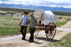 Mormonische Pionierhandkarren-Wanderung Stockbild
