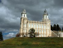 Mormonischer LDS Tempelvorfrühling Manti Utah Stockbild