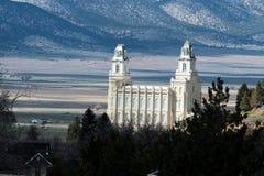 Mormonischer LDS Tempelvorfrühling Manti Utah Stockfotos